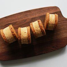 Espresso pecan shortbread ice cream sandwich