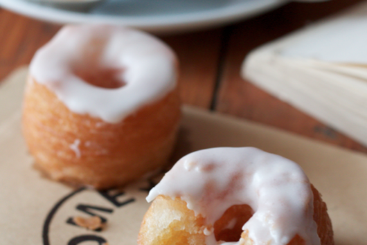 Cronuts with vanilla pastry cream and orange blossom glaze