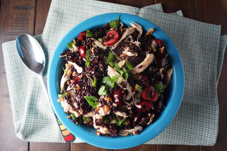 Black Rice Salad with Chicken and Cherries