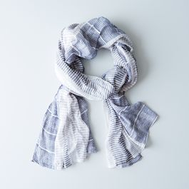 Navy Striped Scarf