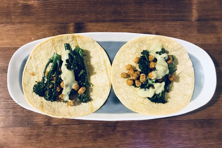 Crispy Chickpea and Broccolini Tacos with Avocado Crema