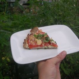 Spelt Crusted Heirloom Tomato Tart with Basil Aioli and Goat Cheese