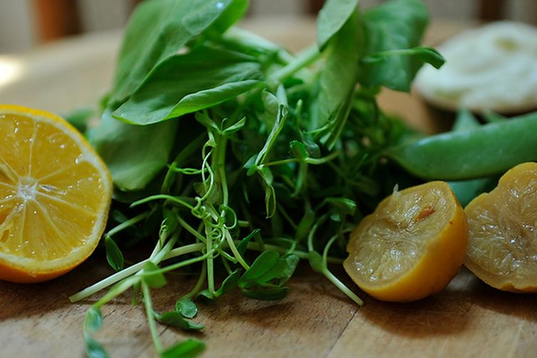 Pea Greens and Sugar Snaps with Preserved Lemon Cream
