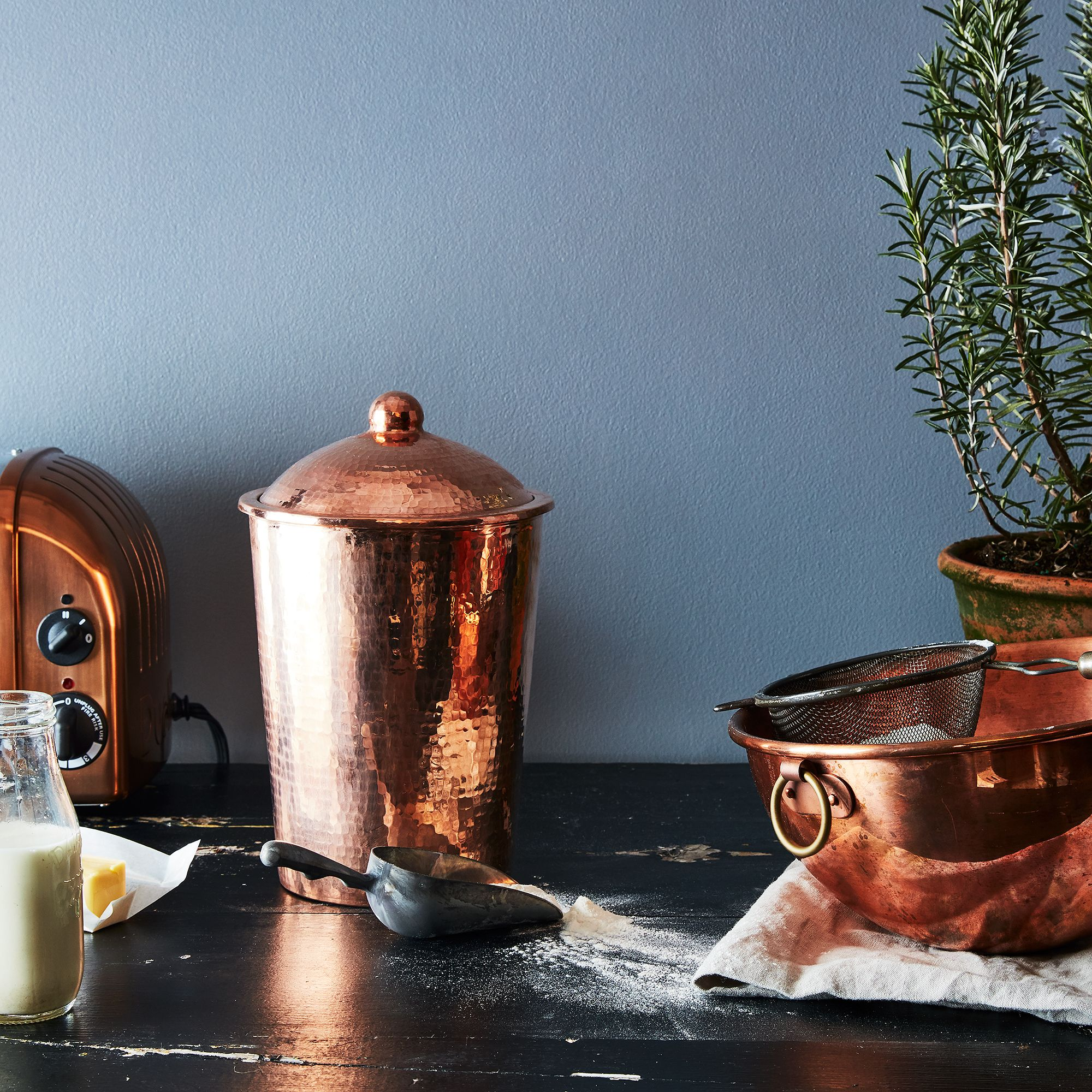 hammered copper kitchen canister on food52
