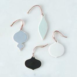 Ceramic Glazed Holiday Ornaments (Set of 4)