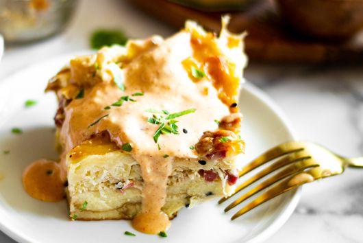 Reuben Pretzel Bread Pudding