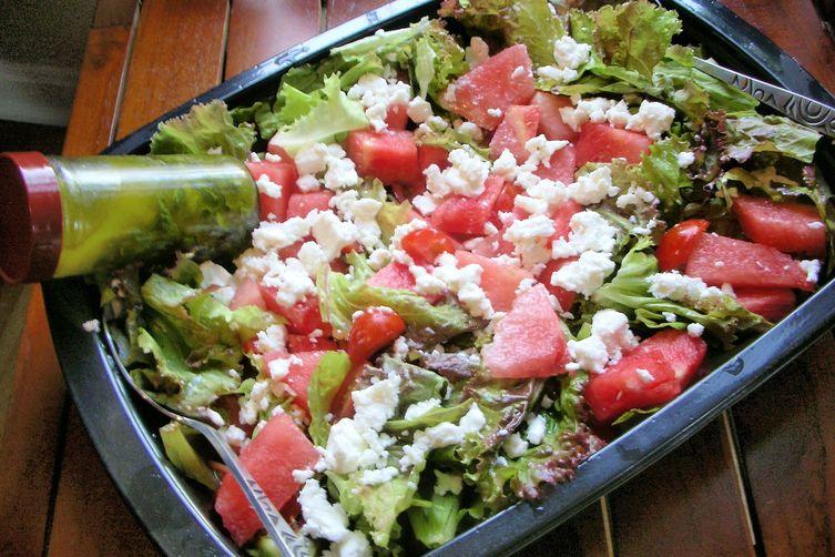 Watermelon Feta Tomato Salad with Basil Vinaigrette