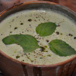 Cream of wild garlic and celeriac soup