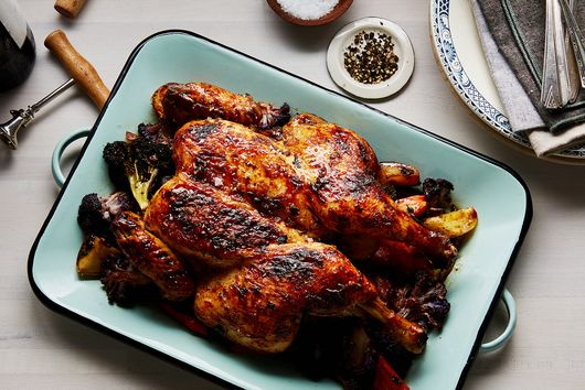 Honey-Roasted Chicken with Garlic, Lavender, and Roasted Vegetables