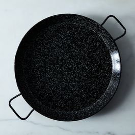 Black Speckled Enameled Steel Paella Pan, 17""
