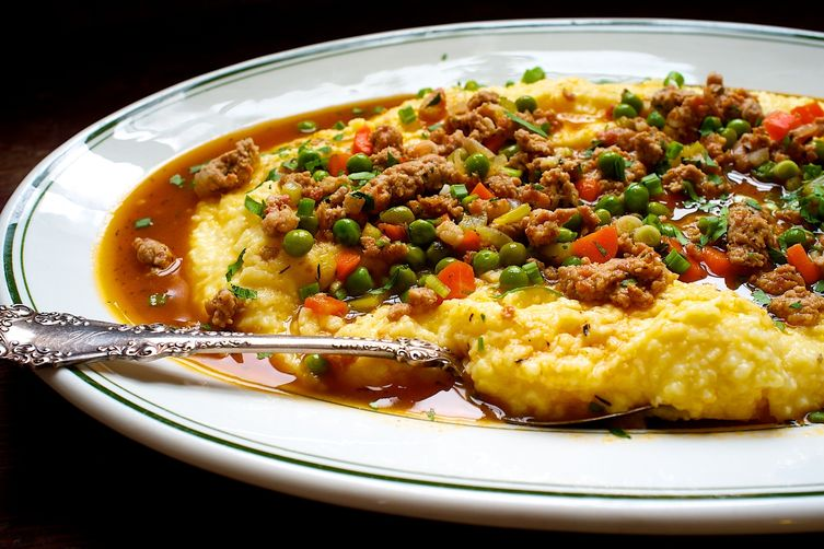 Polenta with Peas and Pork Sausage