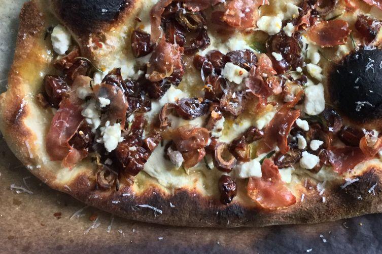 Date, Prosciutto and Cheese Pizza