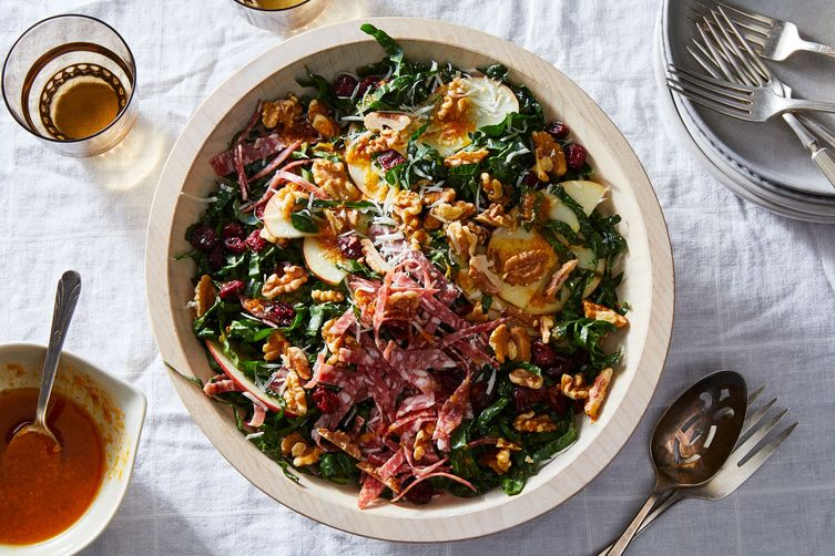 Kale Salad with Salami, Pecorino, and Walnuts