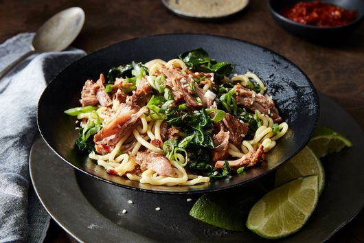 Instant Pot (or Not) Soy-Ginger Pork with Noodles and Greens