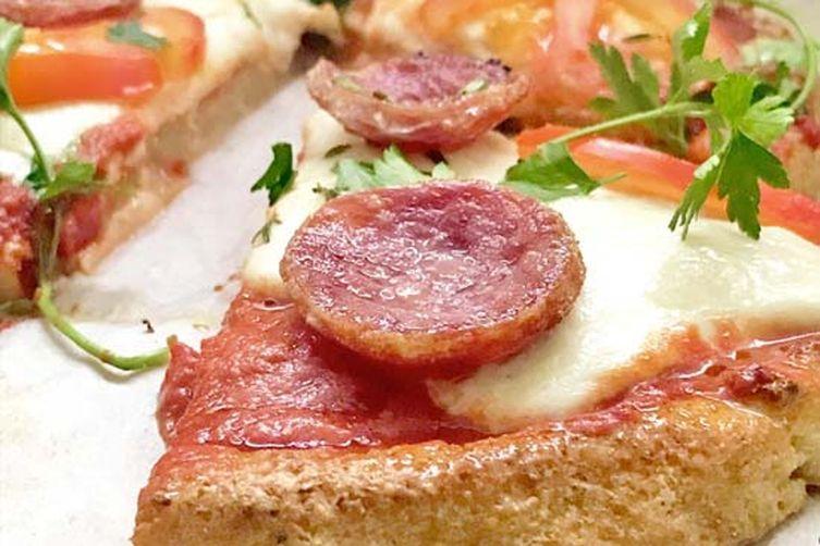 Paleo Buffalo Mozzarella & Salami Pizza with a Cauliflower Crust