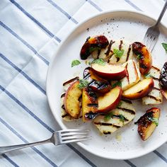 "Grilled Peach, Halloumi, and Mint ""Caprese"""