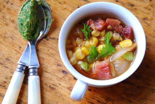 Succotash Minestrone with Mustard Green and Miso Pesto