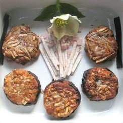 Taro Cakes with Shiitakes,Ham, and Scallions