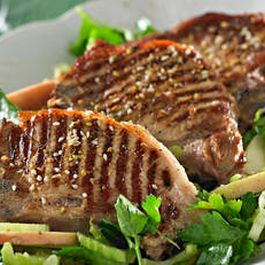 Moist Grilled Pork Chops w/ grape salad