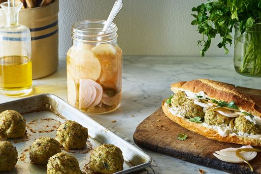 Chicken & Broccoli Meatball Subs With Apple Giardiniera