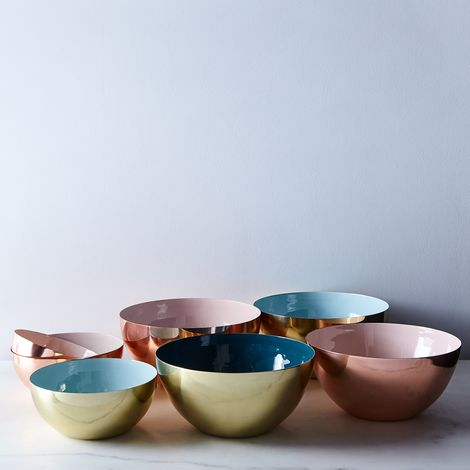 Copper, Brass, and Enamel Colored Louise Bowls