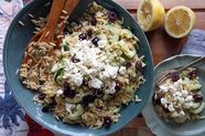 Lemon-Dill Orzo Pasta Salad with Cucumbers, Olives, and Feta