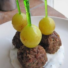 Kefta-Style Meatballs with Grilled Grapes and Yogurt Sauce