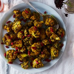 Turmeric Roasted Cauliflower with Activated Charcoal and Goji Berries