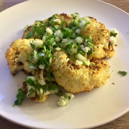 Cauliflower Steaks with Olive Salsa and Roasted Tomato Sauce