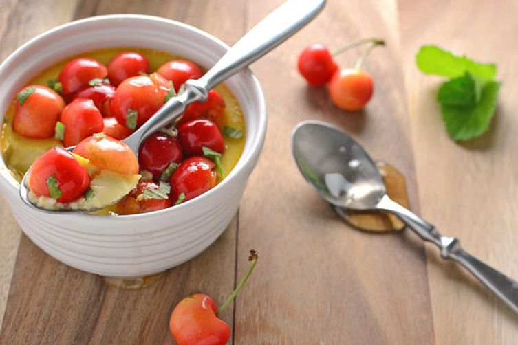 Honey Custard with Sweet Cherries