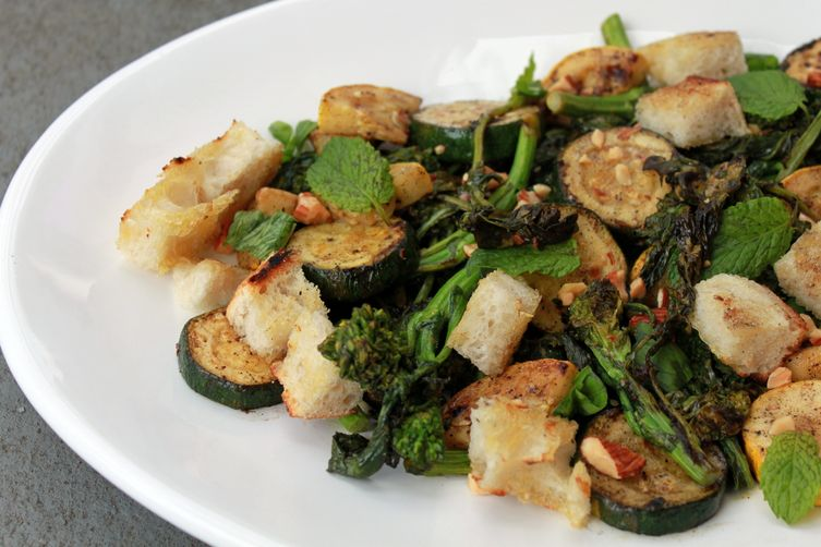 Grilled Bread Salad with Broccoli Rabe and Summer Squash Recipe on ...