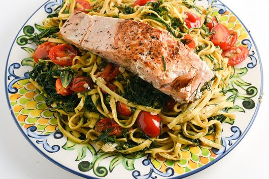 Salmon Over Linguine With Agretti