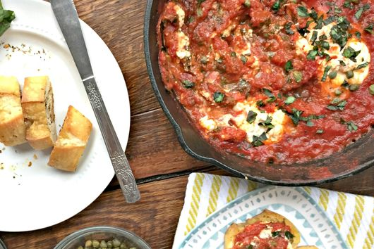 One Skillet Goat Cheese Marinara Dip with Homemade Marinara and Capers