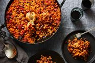 Spanish Baked Rice with Chorizo and Chickpeas