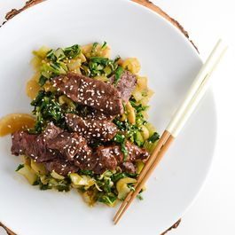 Stir fried beef with bok choy and turnips
