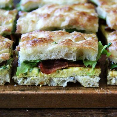 Sheet Pan Bacon and Egg Breakfast Sandwiches with Overnight Focaccia