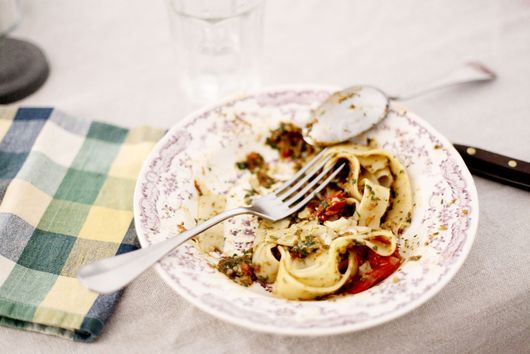 Tagliatelle with roasted tomatoes and basil pesto