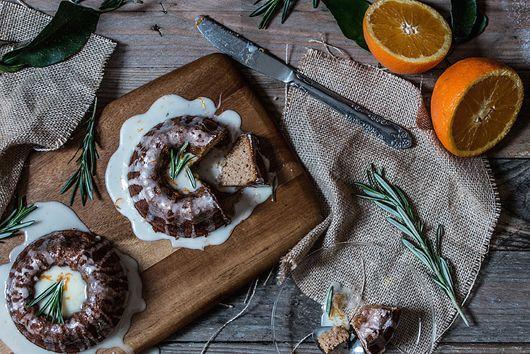 Sweet potato bundt cakes with orange-rosemary glaze