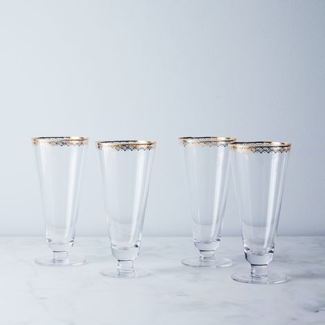 Gold-Detailed Fizz Glasses (Set of 4)