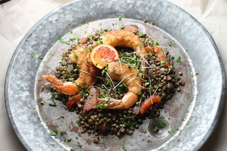 Winter citrus shrimp + French Lentils