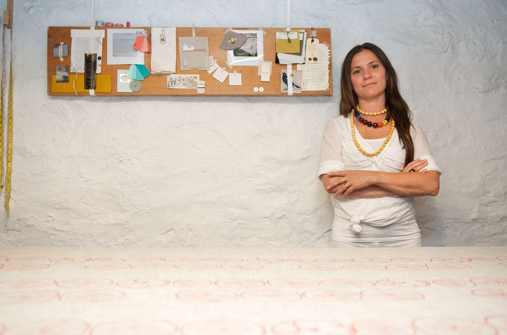 Celina Mancurti in her Tampa Florida linen studio