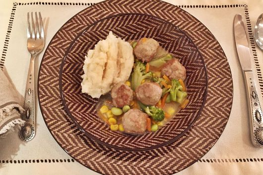 Turkey Meatballs, Pot Pie Style