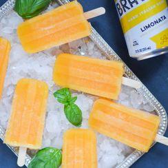 Boozy Limonata Peach-Basil Popsicles
