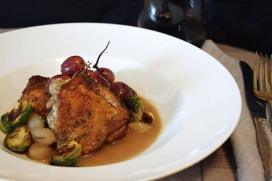 Crispy Braised Chicken Thighs with Grapes & Pearl Onions