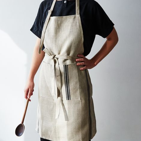 Oatmeal Linen Striped Apron