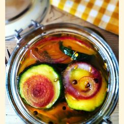 Sweet and Sour Zucchini -  a quick summer pickle